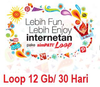 12 GB Simpati Loop Internet Murah 50 Ribu 30 Hari