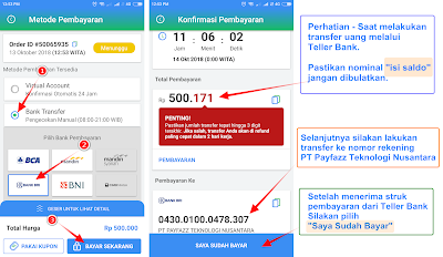cara isi saldo payfazz transfer bank bri