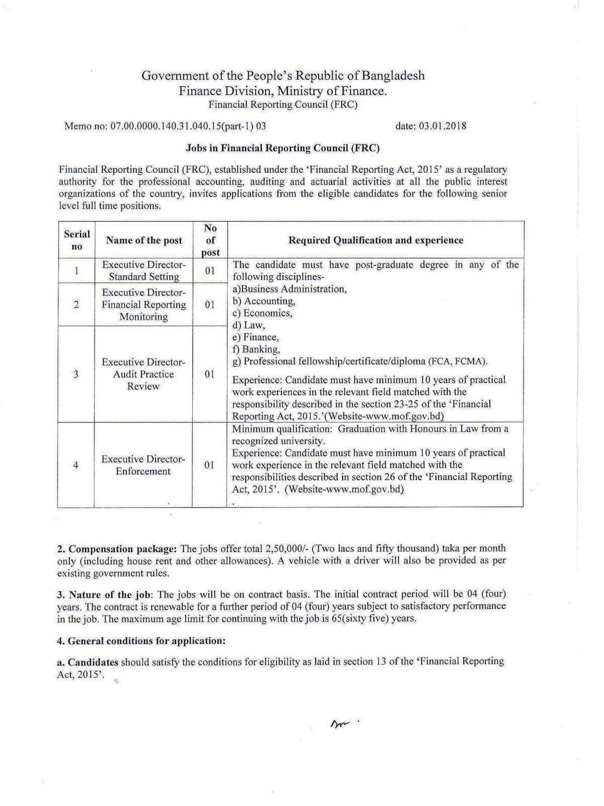 Financial Reporting Council (FRC) job circular 2018