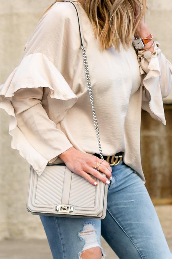tan ruffle blouse