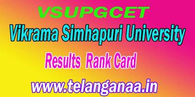VSUPGCET Results  VSUPGCET Rank Card vsupgcet.in Download