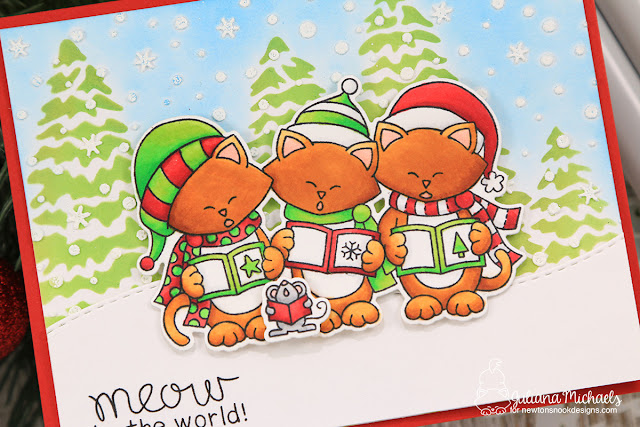 Meow To The World Card by Juliana Michaels featuring Newton's Nook Designs Caroling Newton Stamp Set