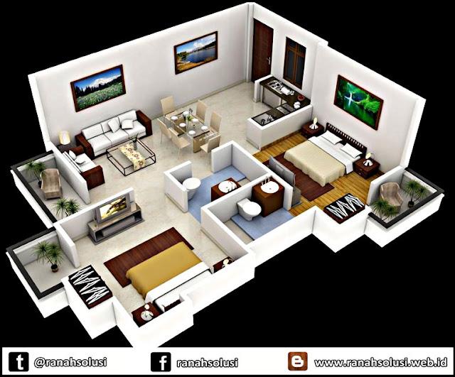 Model Denah Rumah Minimalis Sederhana 2 Kamar Tidur