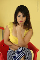 Cute Telugu Actress Shunaya Solanki High Definition Spicy Pos in Yellow Top and Skirt  0452.JPG