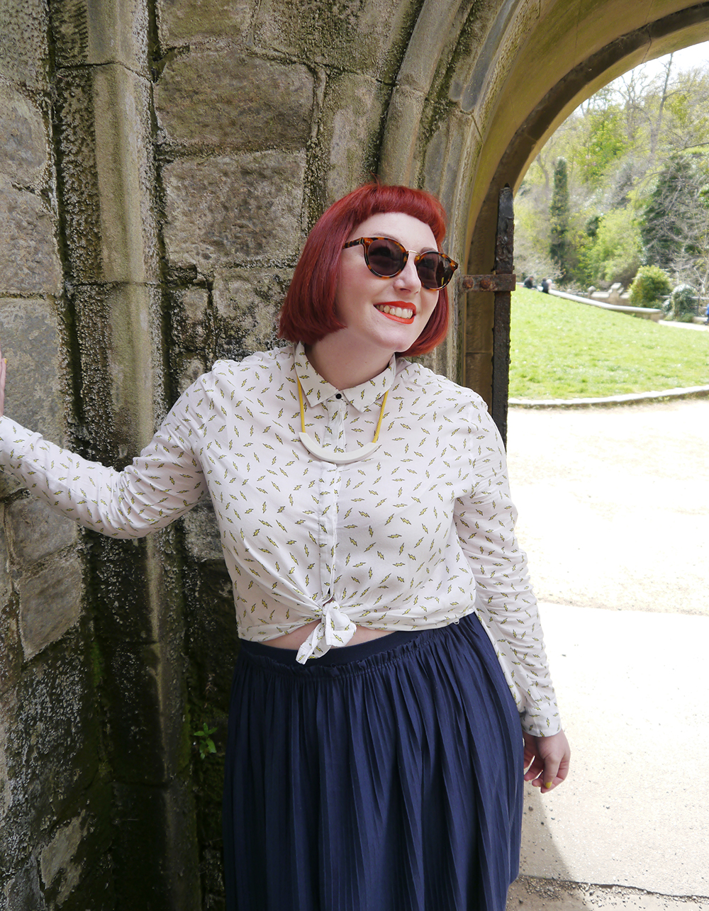 Scottish blogger, red head, Scottish street style, fun street style, colourful street style, colourful blogger, colourful outfit, red bob, ginger bob, sunlglasses style, #seewithiolla, iolla, Beth lamont necklace, yellow accessories, lightning bolt shirt, patterned shirt, denim jacket, yellow nails, Scottish summer, Murray sunglasses, tortoise shell sunglasses