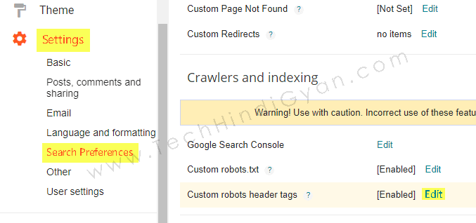 Custom Robots Header Tags Settings - TechHindiGyan