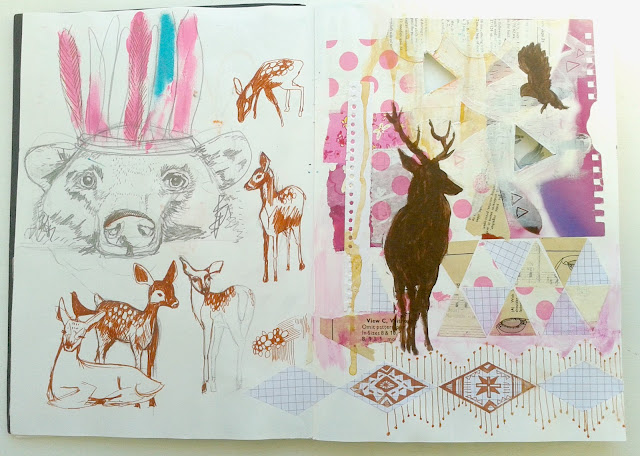 Jenny Blair, sketchbooks, drawing, sketching, collage