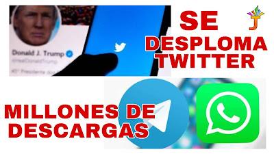 VIDEO: Twitter se desploma tras suspender cuenta de Trump y Telegram la aplicación más descargada   @EntreJerez