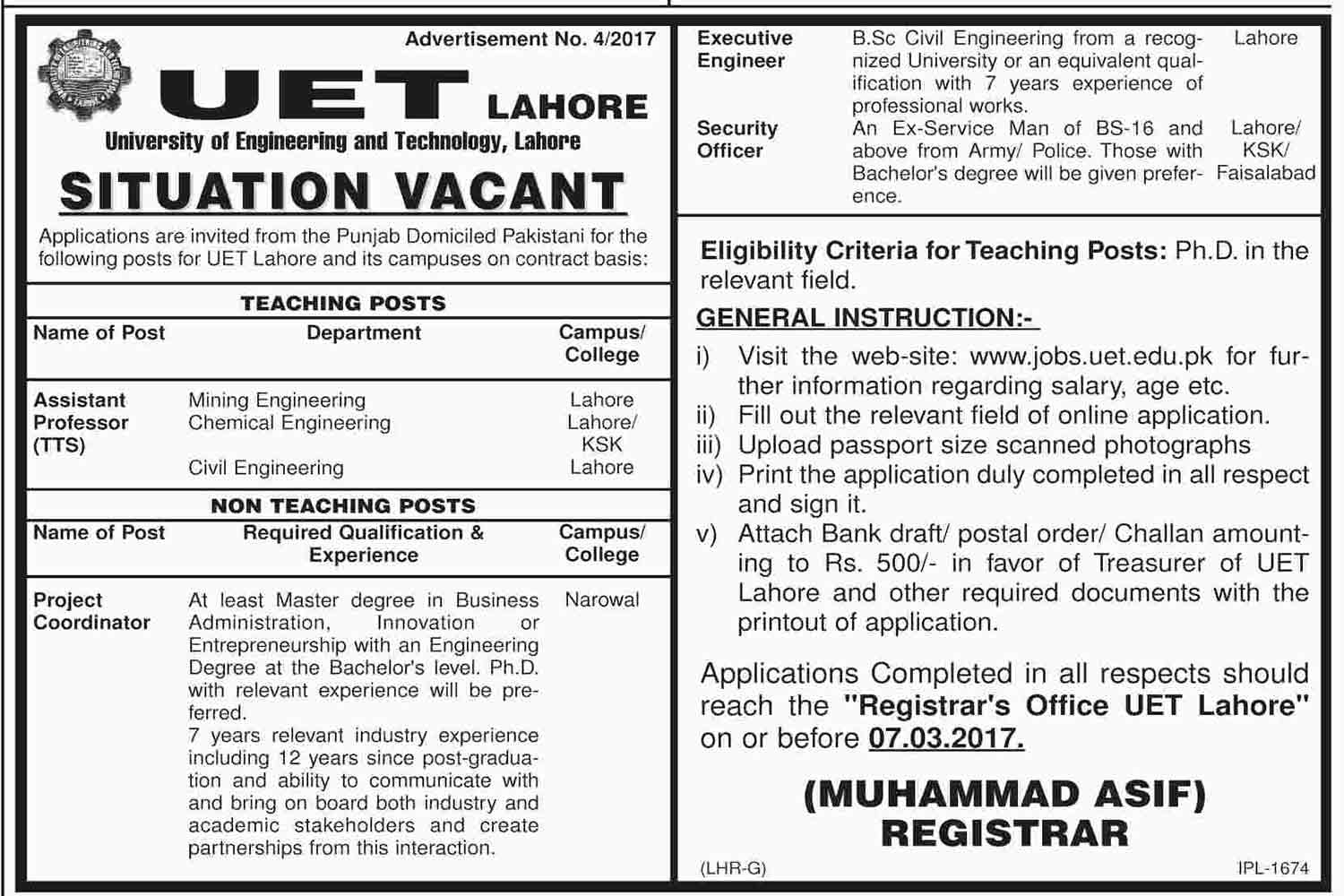 University Of Engineering And Technology Uet Jobs