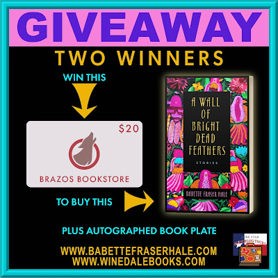 A Wall of Bright Dead Feathers tour giveaway graphic. Prizes to be awarded precede this image in the post text.