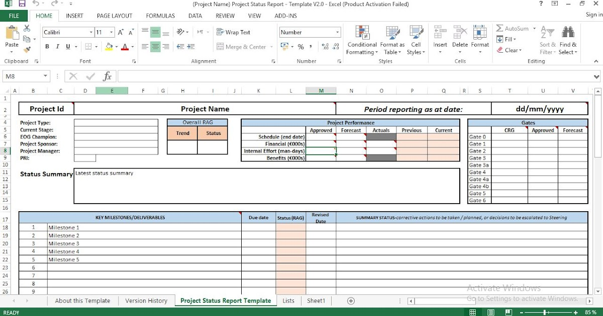 Project Status Report Excel Template - ENGINEERING MANAGEMENT