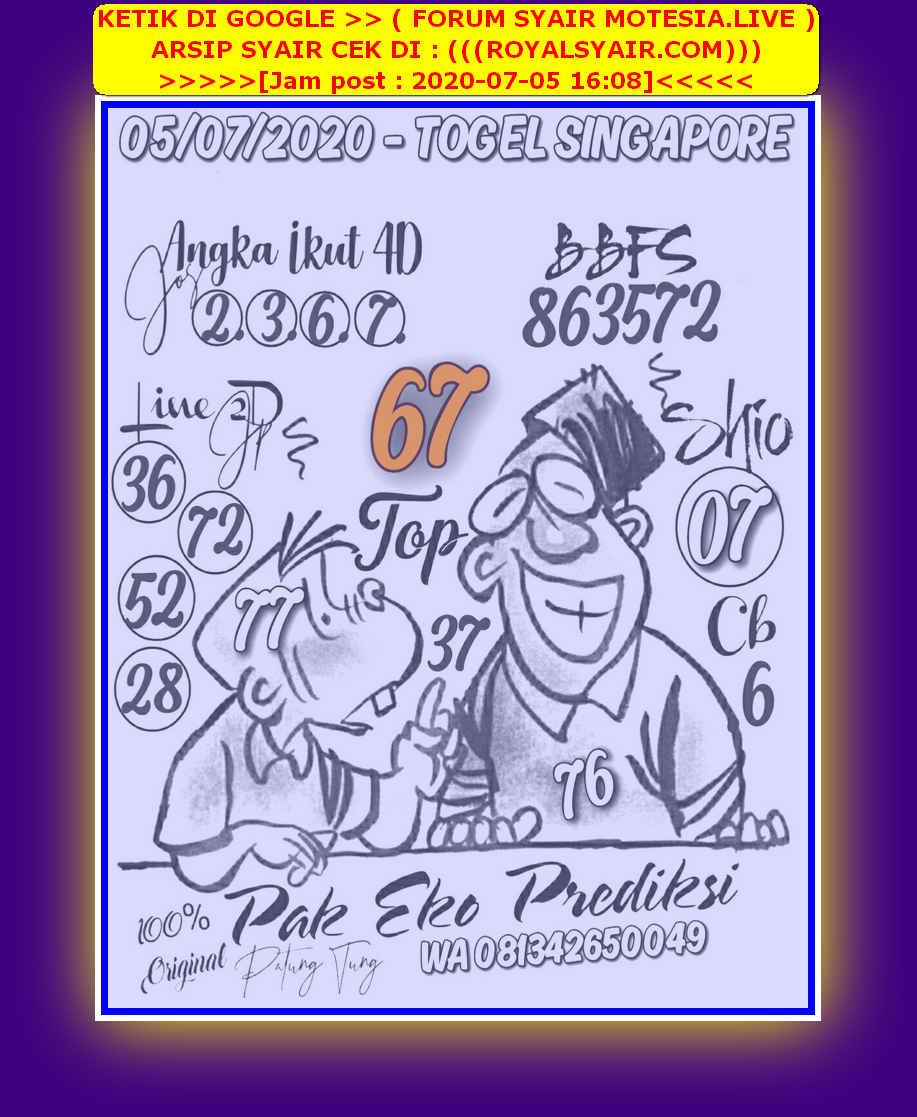 Kode syair Singapore Minggu 5 Juli 2020 22
