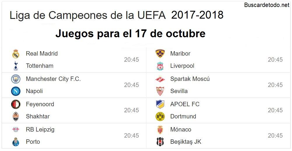 5- Calendario de juegos de la Champions League 2017-2018. Juegos de la Champions League el 17 de octubre 2017