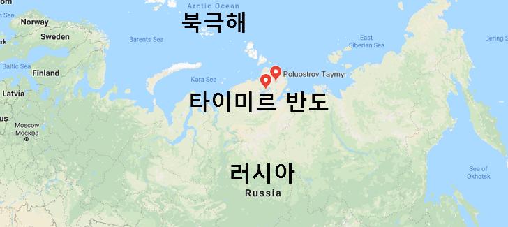 러시아 타이미르(Taimyr) 반도 백금족(白金族) 금속 광산 개발 지도