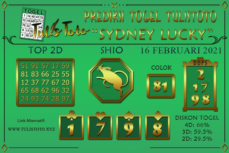 Prediksi Togel SYDNEY LUCKY TODAY TULISTOTO 16 FEBRUARI 2021