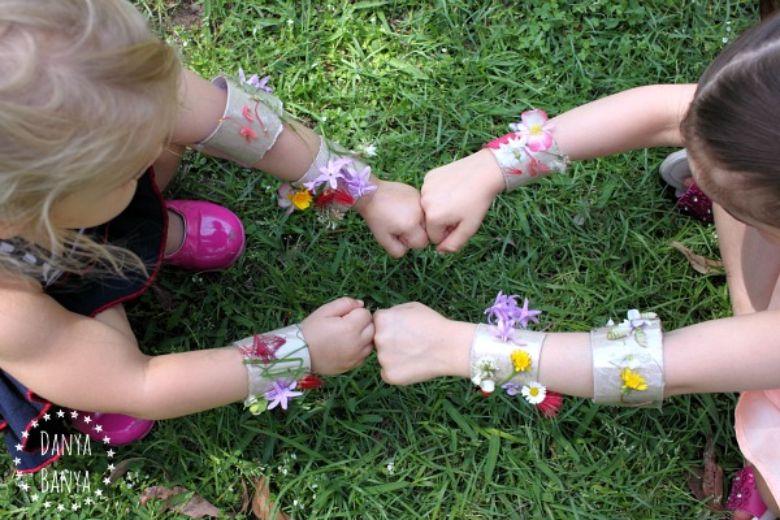 Spring crafts for kids - nature cuffs craft