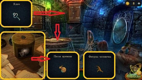 под бумагами на столе берем песок, фигурку и ключ в игре затерянные земли 6