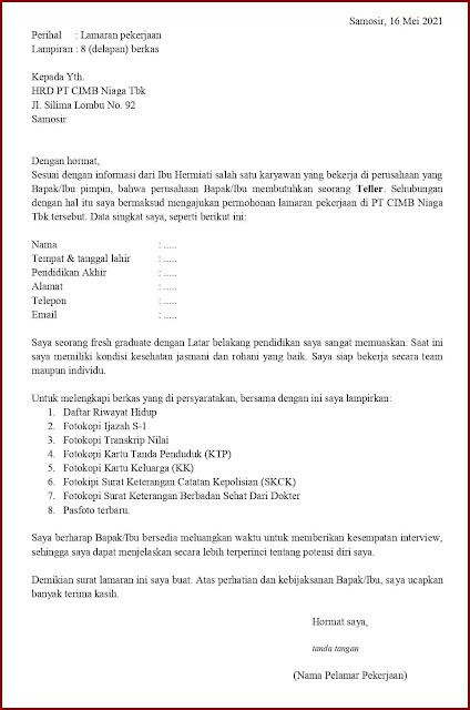 Contoh Application Letter Untuk Teller (Fresh Graduate) Berdasarkan Informasi Dari Seseorang
