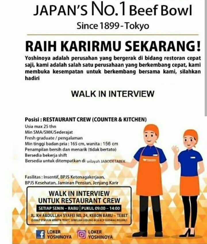 Walk In Interview Kerja di Resto YOSHINOYA