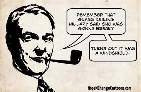obama, obama jokes, political, humor, cartoon, conservative, hope n' change, hope and change, stilton jarlsberg, hillary, election, glass ceiling, windshield