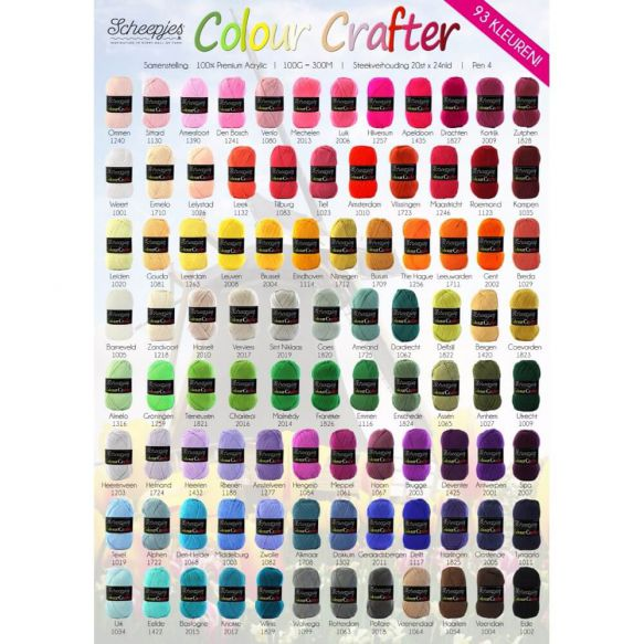 Scheepjes Colour Crafter -- 96 colors available (100% premium Acrylic; 100g/300m)