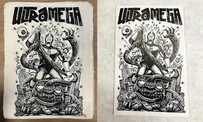 Comics Vault Live Exclusive ULTRAMEGA #1 Variant Cover Linocut Print by Attack Peter x Skybound