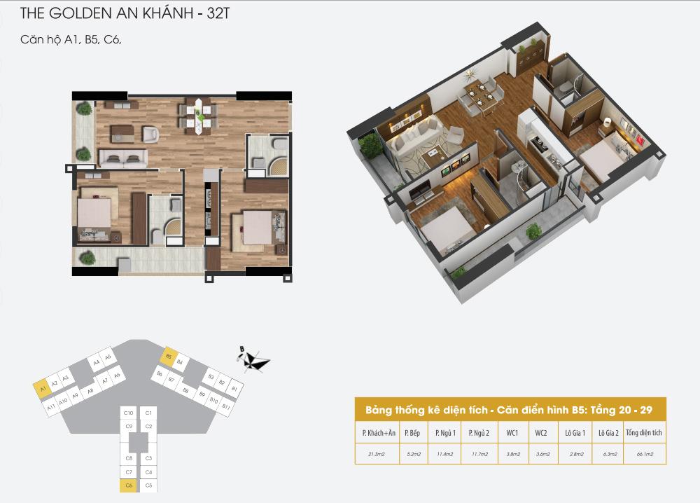 Mặt bằng điển hình căn hộ 1, B5, C6 dự án The Golden