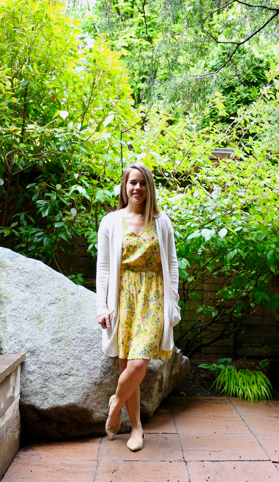 Jules in Flats - Old Navy Yellow Floral Waist-Defined V-Neck Dress and Open Front Sweater (Cardigan) (Business Casual Spring Workwear on a Budget)