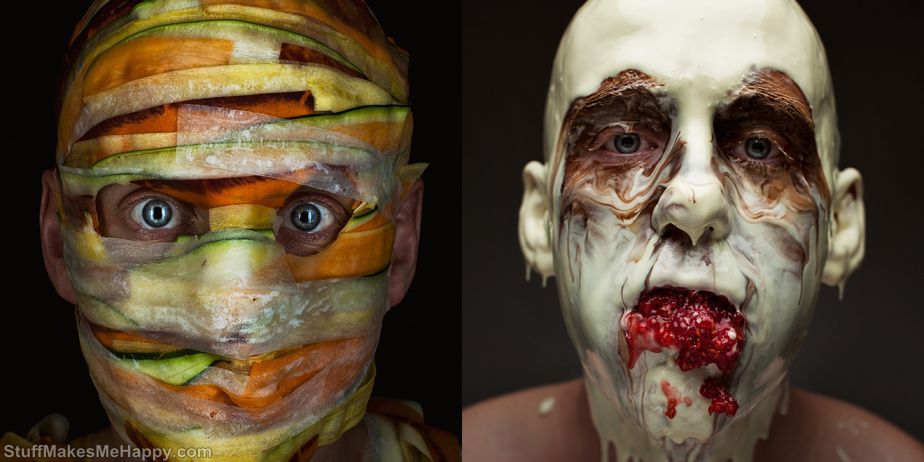 Creepy Portraits Made Out of Culinary Ingredients by Robert Tharrison And Robbie Postma