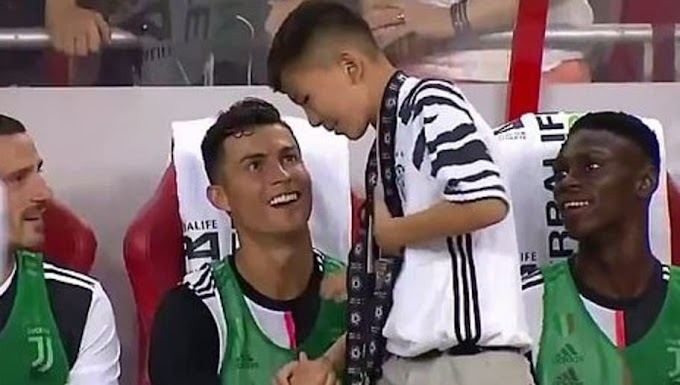 #Cristiano Ronaldo Invites Young Fan to the Juventus Bench and Makes Him Live His Dream