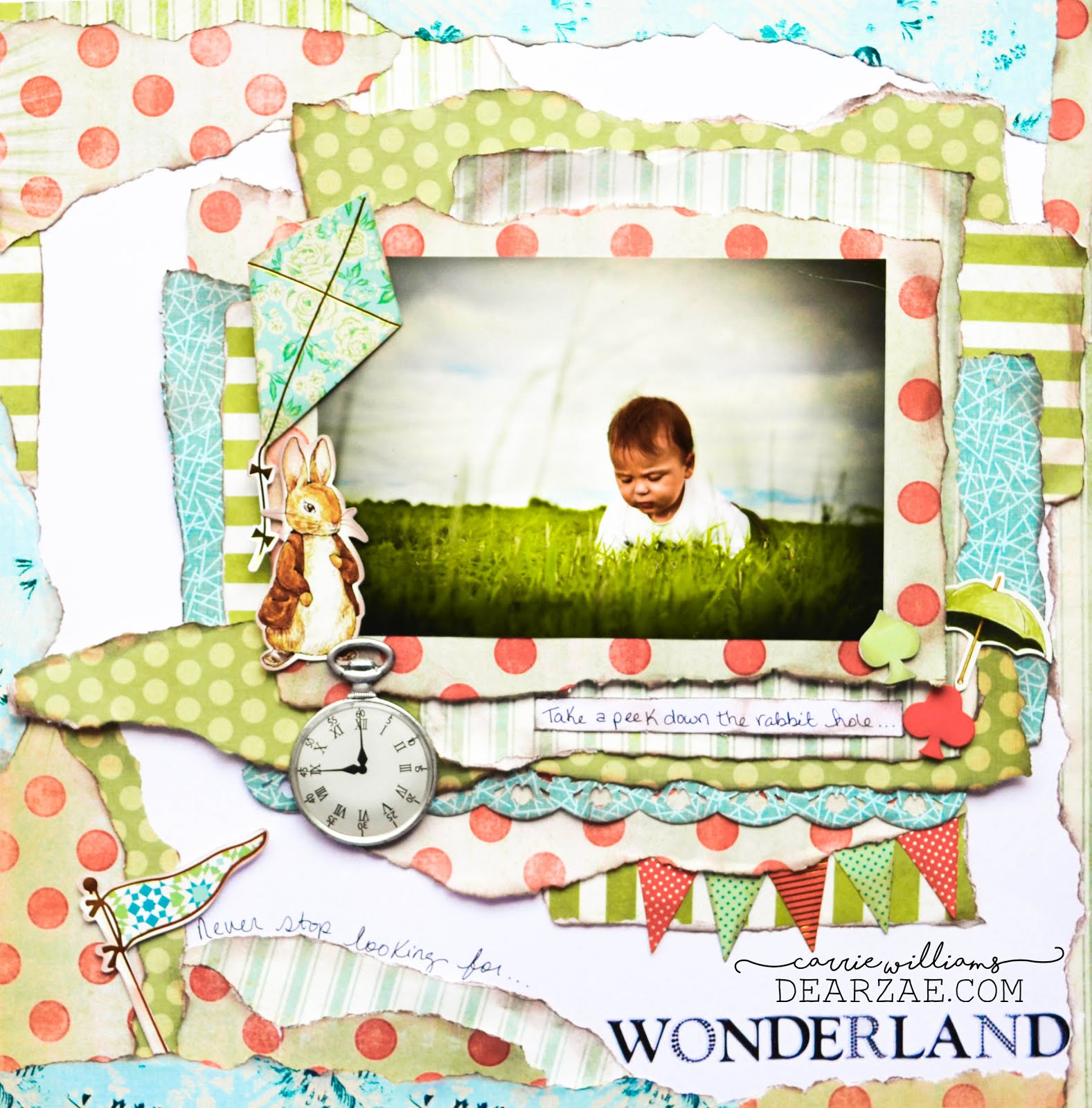 Alice in Wonderland themed scrapbook layout page with die cut rabbit, kite, flag, pennant bunting, and patterned papers in stripes and polka dots in red, olive green, and aqua blue.