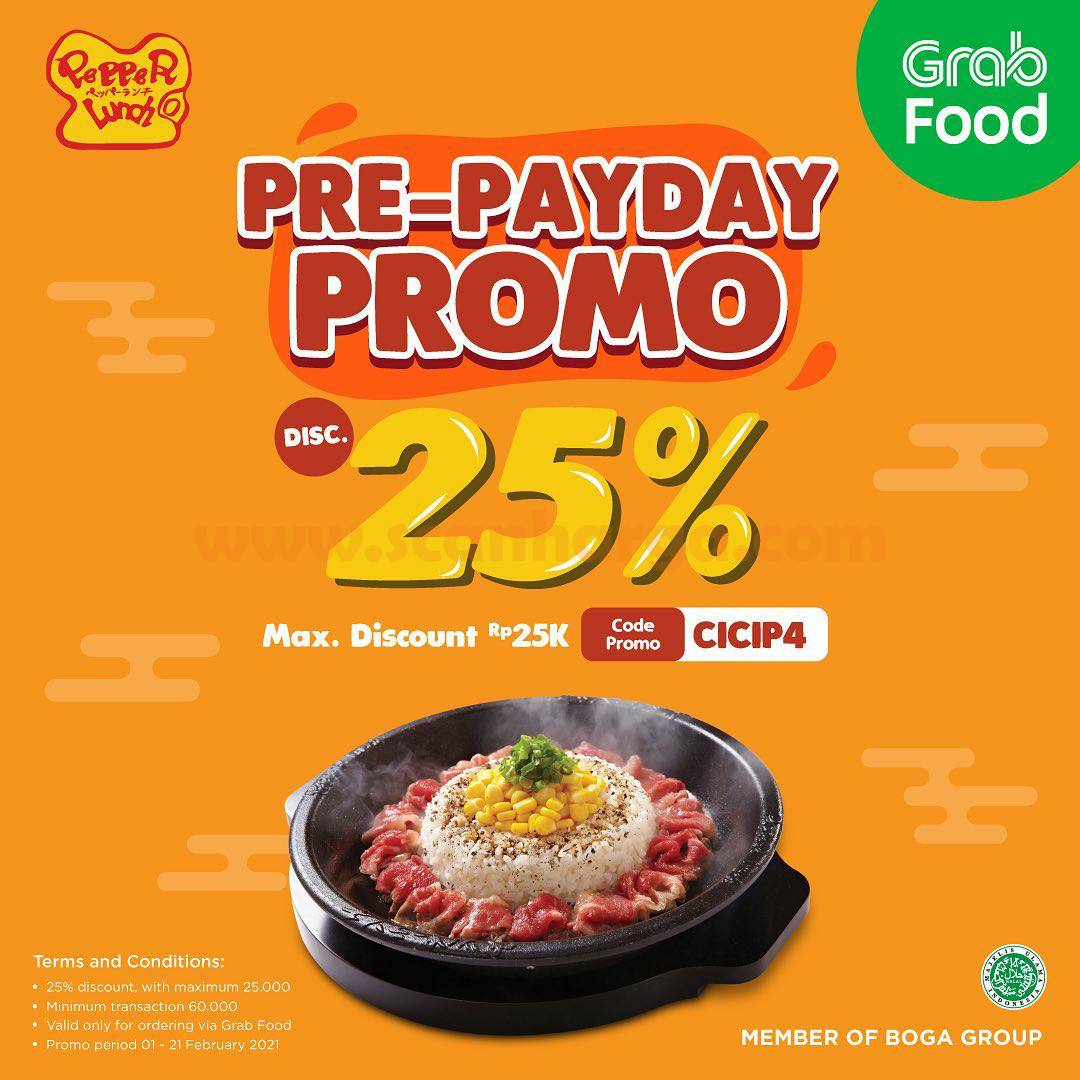 PEPPER LUNCH Promo GRABFOOD Pre-PAYDAY Discount 25%