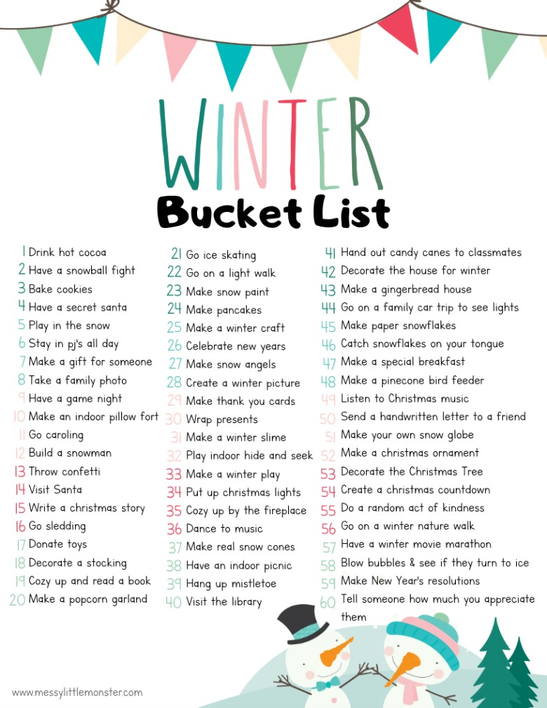 Printable winter bucket list