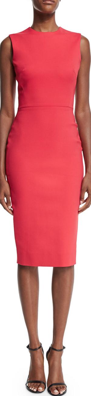 Victoria Beckham Sleeveless Jewel-Neck Sheath Dress