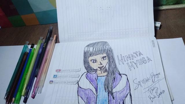 Gambar Sketsa Hinata Hyuga, Naruto Shippuden!