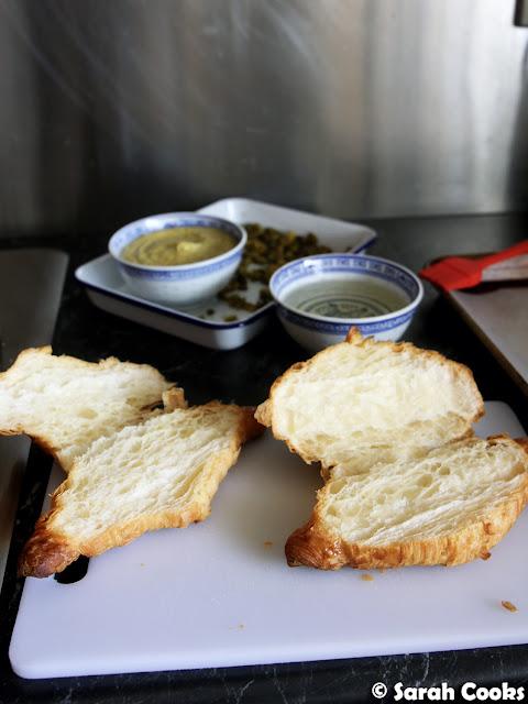 Pistachio croissant assembly