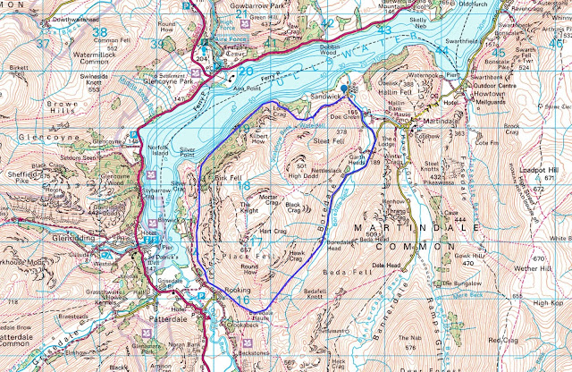 Map ullswater walk Howtown, Glenridding pattedale best lake District