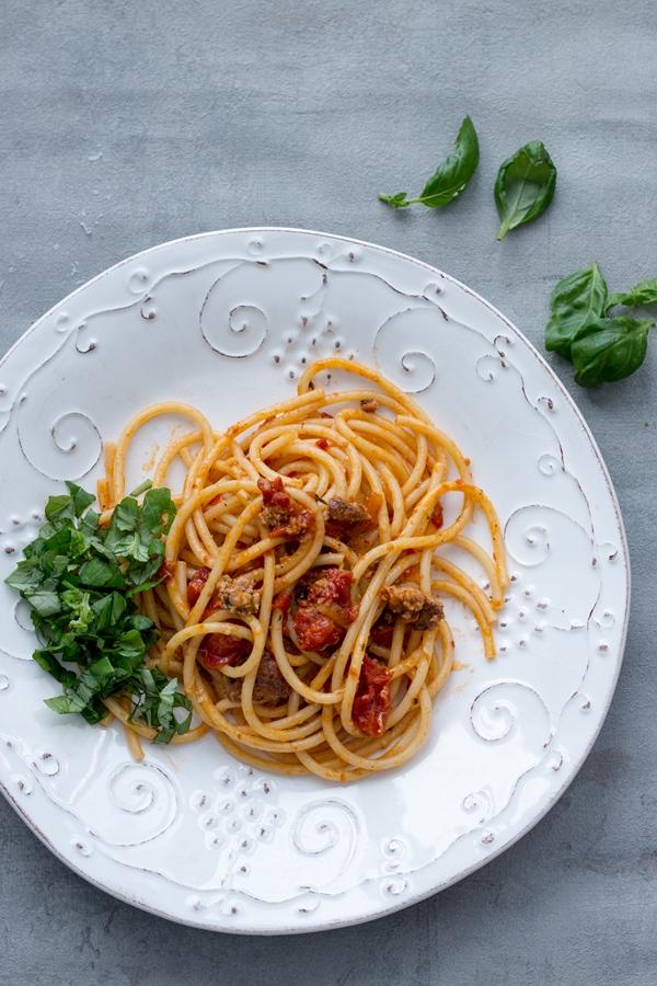 Makaron z pieczonymi pomidorami