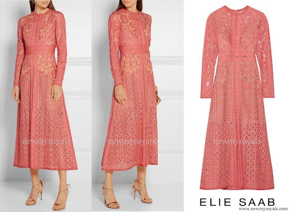 Queen Maxima wore ELIE-SAAB Cotton blend Lace Dress