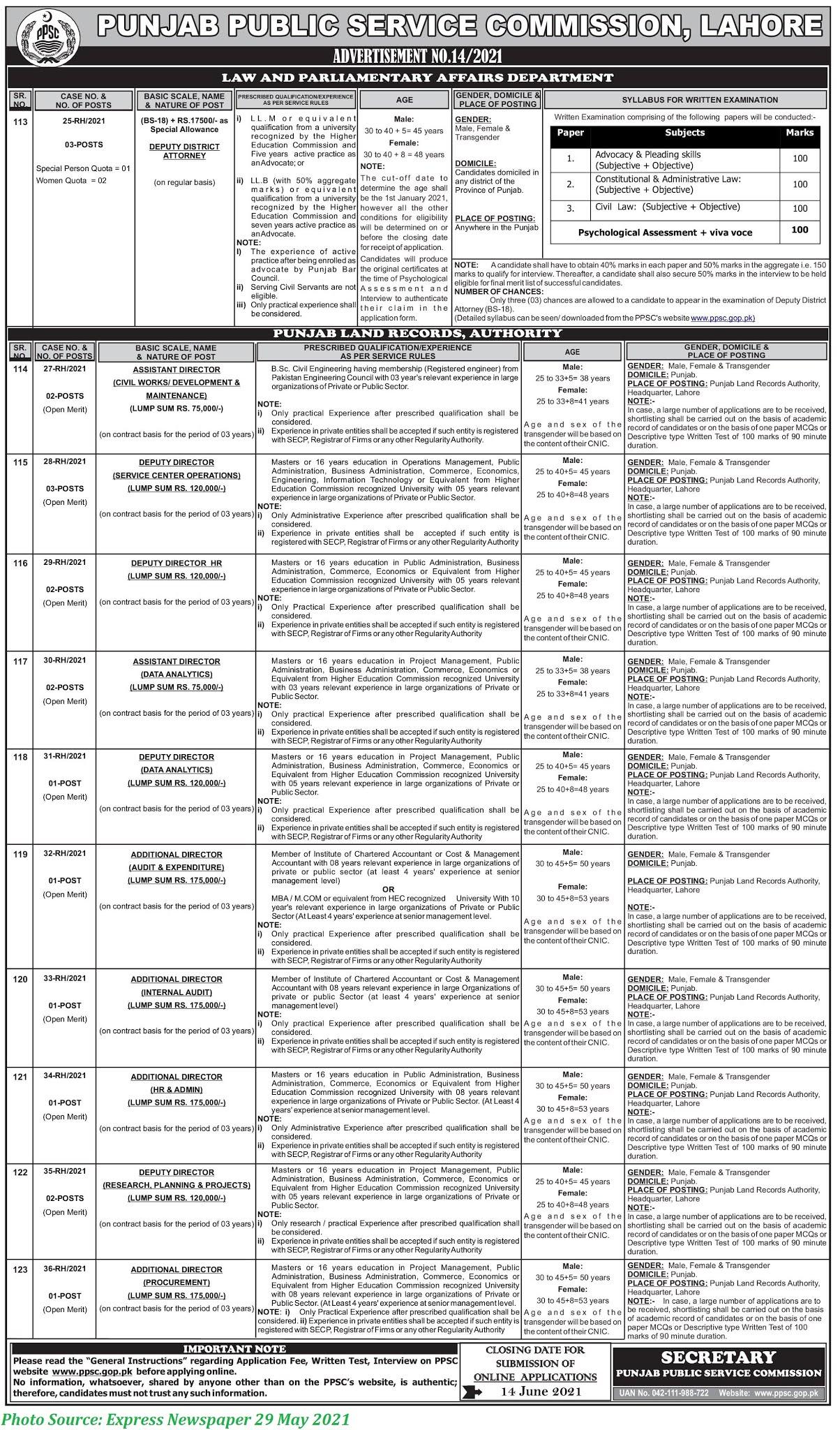 PPSC Jobs 2021 - Latest Jobs in Punjab Public Service Commission June 2021 Apply Online Latest PPSC Jobs 2021 Advertisement 14-2021