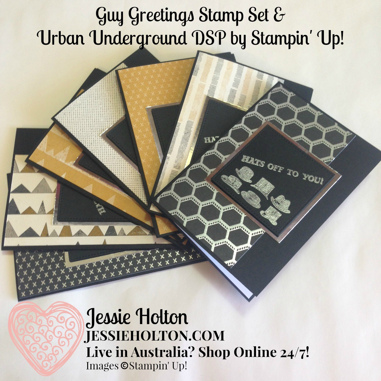 Jessie holton aussie su demo guy greetings cards for these cards i have silver heat embossed the images sentiments from the guy greetings stamp set onto basic black cardstock cut out with the largest m4hsunfo Images