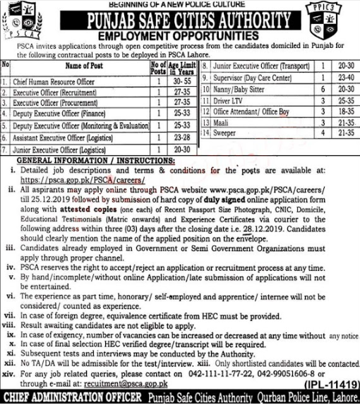 Jobs in Punjab Safe Cities Authority PSCA 2019 December 24