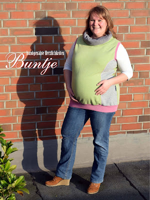 Finnleys Curvy Freya 50 grün lila grau Fleece Sweat Nähen handmade Buntje Pullunder