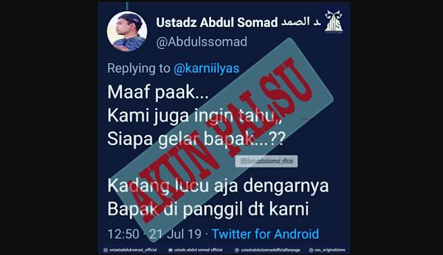 Akun Palsu UAS di twitter