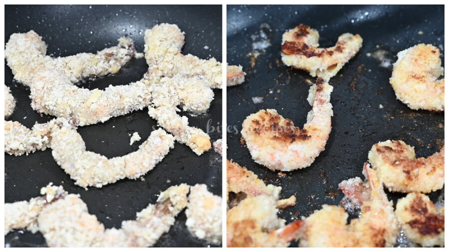 a skillet to fry the coconut shrimp