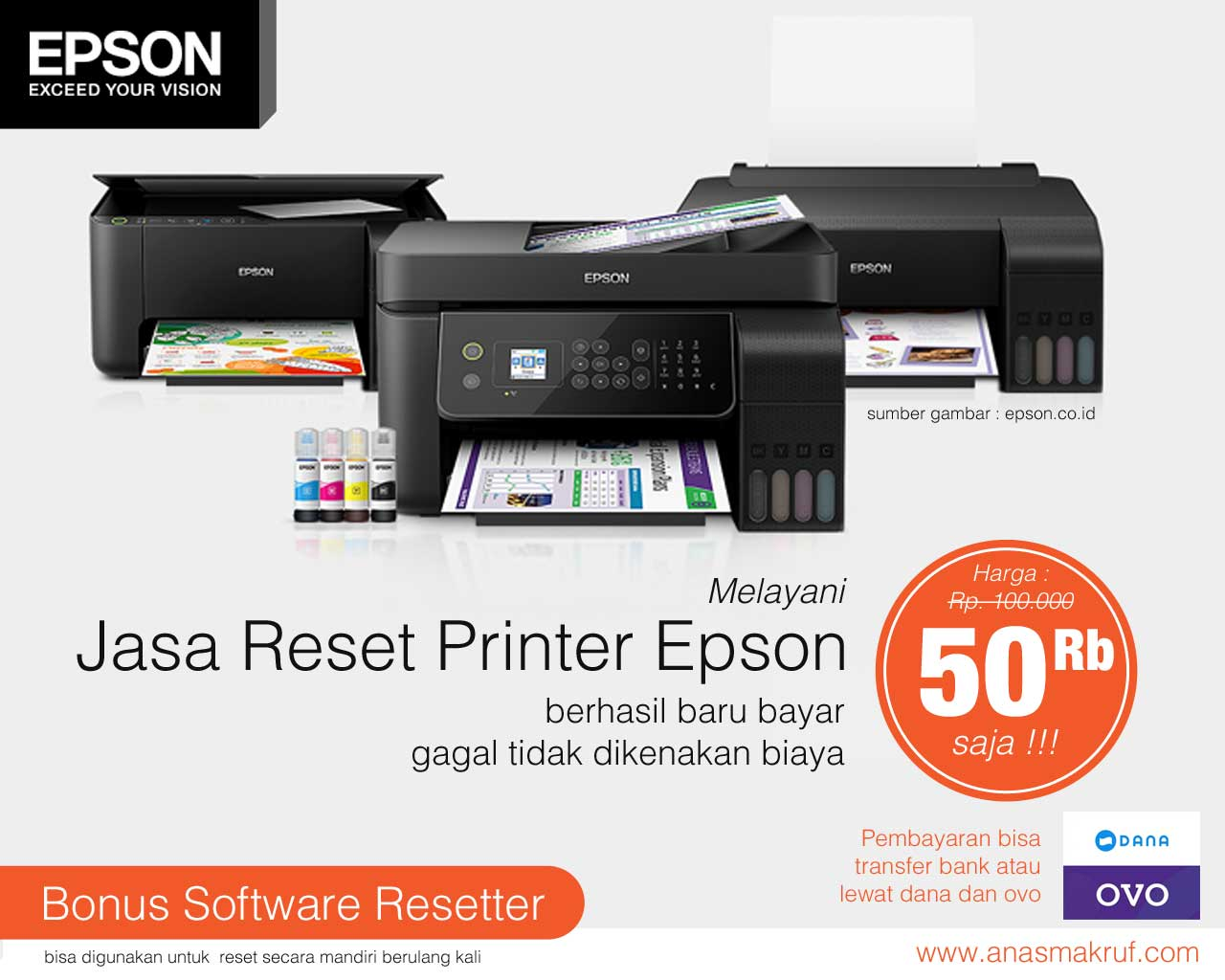 jasa reset printer epson online murah terpercaya garansi uang kembali