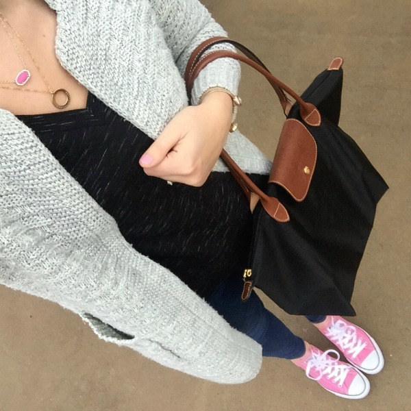 layered necklaces, gray cardigan, pink converses