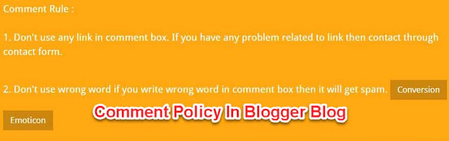 what is comment policy? How to write comment policy in blog?
