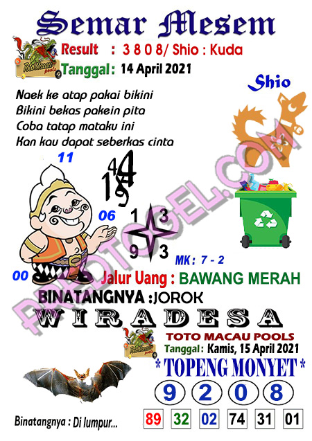 Syair Semar Mesem Toto Macau Kamis 15 April 2021