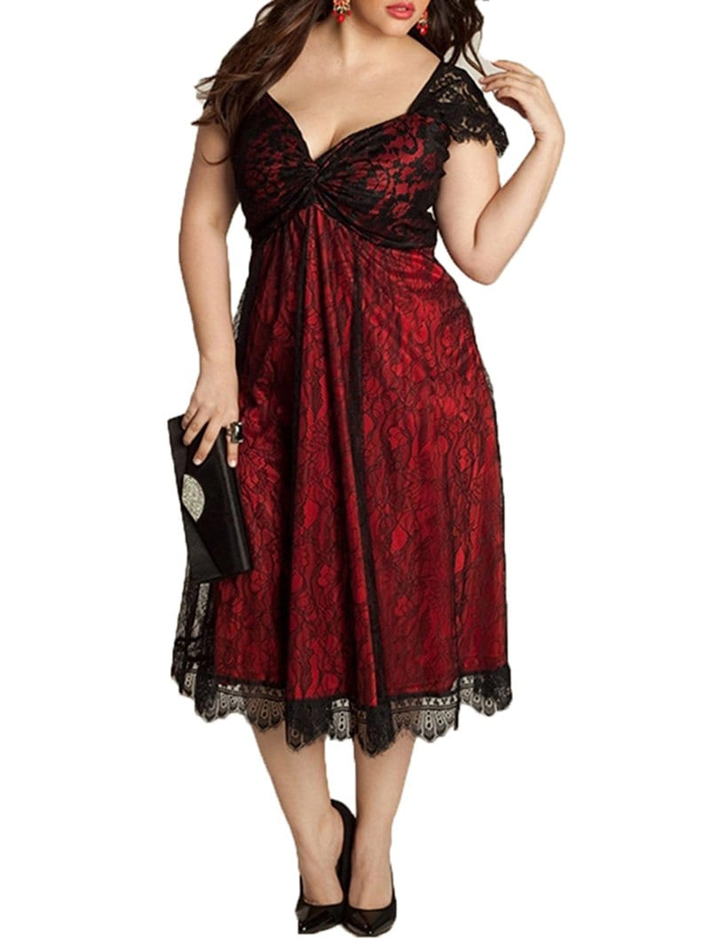 European and American Large Size Elegant Lace Stitching V-Neck Gothic Dress